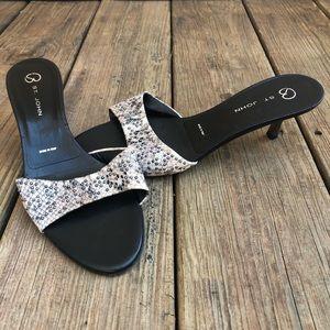 St. John Python Print Studded Kitten Heels Shoes